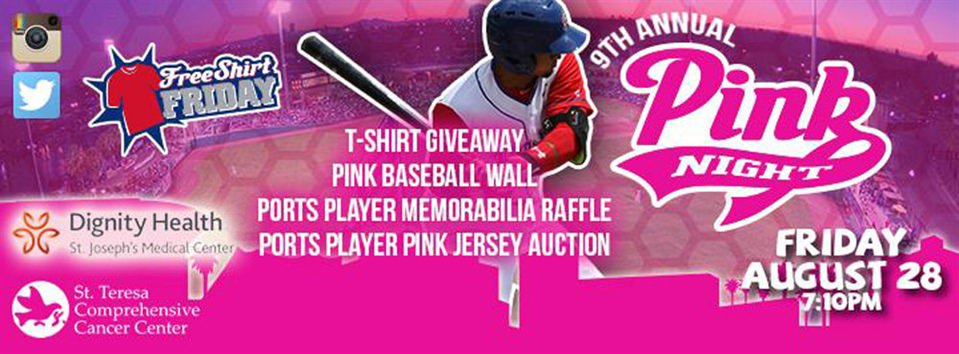 Ports' Annual Pink Night Scheduled for Friday, August 28th