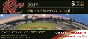 "Micke Grove Zoo to be ""Benefitting partner of the night"" at April's Sacramento River cats game"